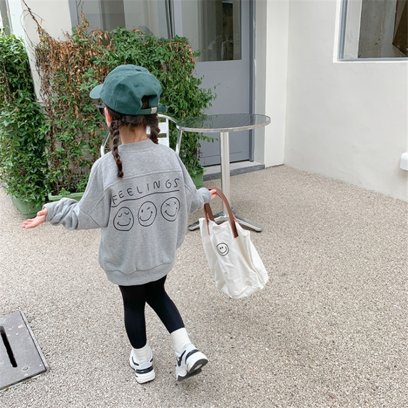 1-8Y Baby Kids Clothes Girls Jackets 2021 Autumn New Casual Smiley Letter Print Coat for Girl Loose