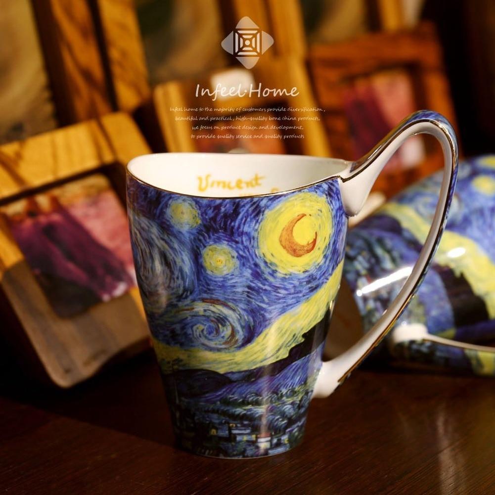 ¡Gran oferta! Van Gogh arte pintura tazas de café la noche estrellada, girasoles, la sembradora, Irises Saint-Remy tazas de té botella de agua