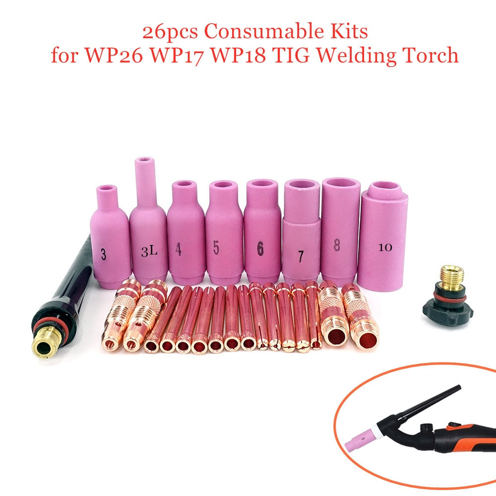 26pcs Argon TIG Welding Torch Consumable Tungsten Electrodes Collet Body Alumina Nozzle Long Short Cap WP18 WP17 WP26 TIG Kits