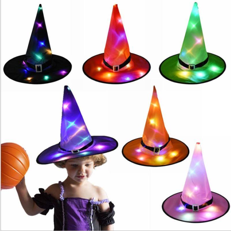 1 Uds gorro de bruja Halloween luz Led sombrero de bruja brillante decoración de Halloween sombrero brillante decoración de fiesta de graduación