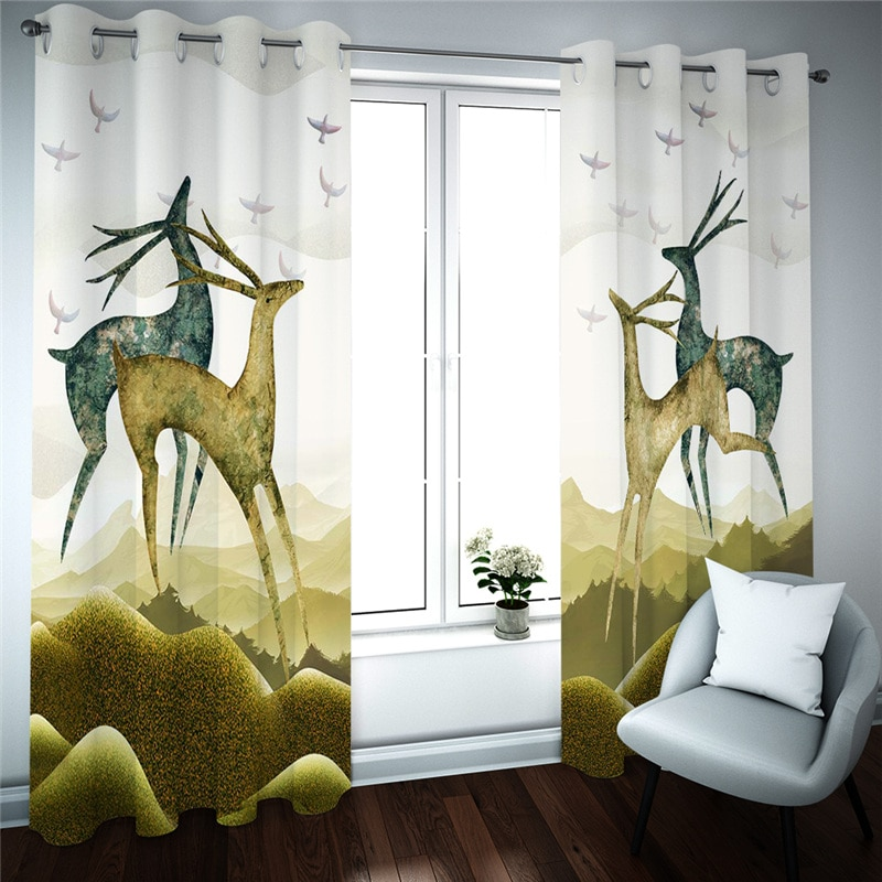 3D затемняющие оконные шторы занавески для гостиной кухни двери с животными