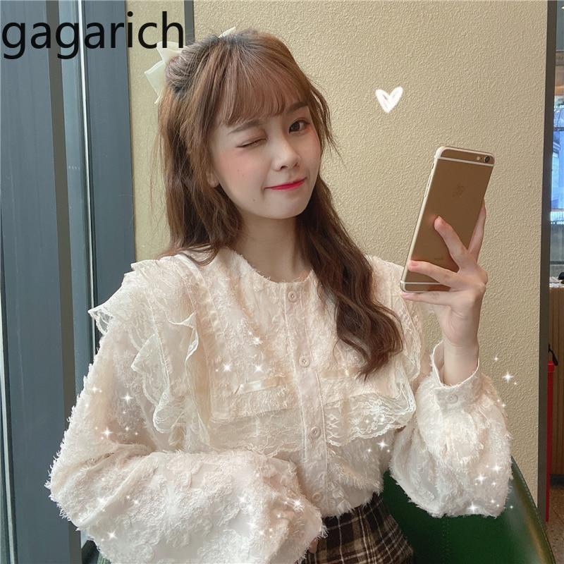 Gagarich doce feminino blusa de renda coreano solto puff manga botão gola marinheiro topos senhoras 2020 primavera nova moda camisas inferiores