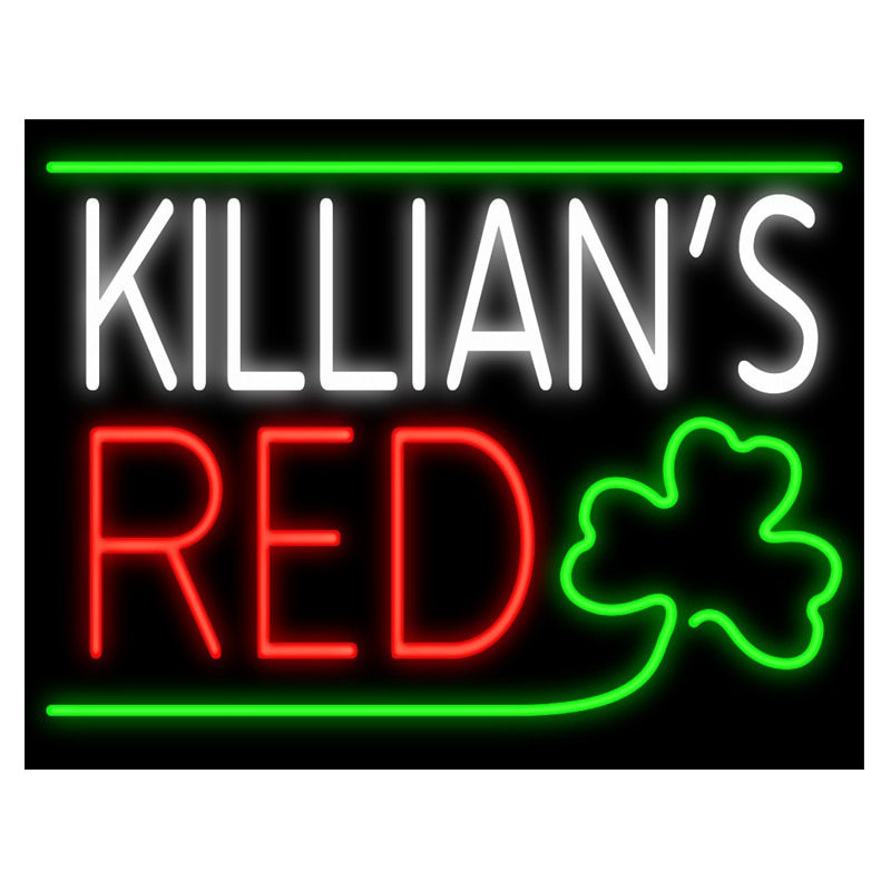 KILLIANS-علامة بيرة شامروك حمراء ، أنبوب زجاجي أصلي ، صناعة يدوية ، بار ، متجر ، إعلان عن زخرفة ، شاشة عرض نيون ، 19 بوصة × 15 بوصة