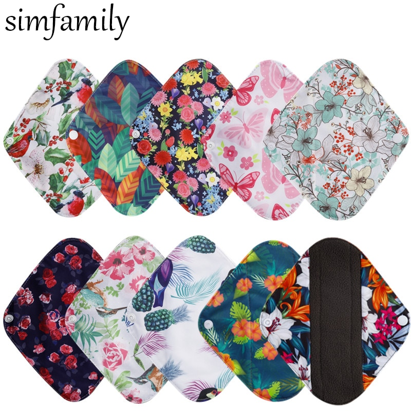 Simfamily 10pcs Reusable Pads Bamboo Charcoal Pads Sanitary Pads Washable Panty Liner Mama Maternity Menstrual Cotton Dads Maternity Pads Aliexpress