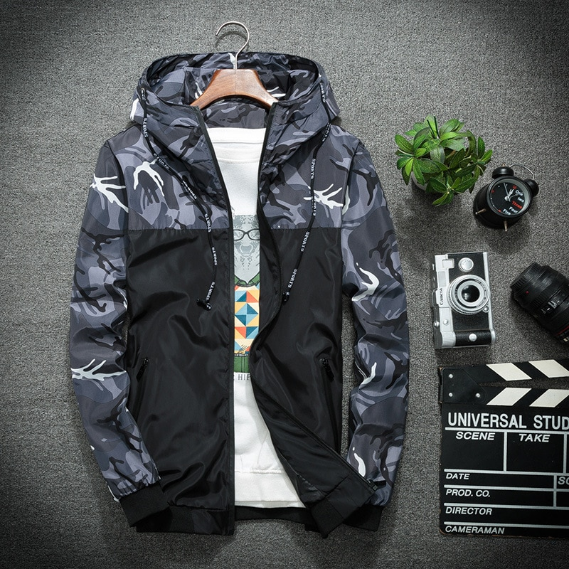Men's Military Windbreaker Camouflage Patchwork Jackets Coats Fashion Streetwear Men  Jacket Camo High Quality Clothes