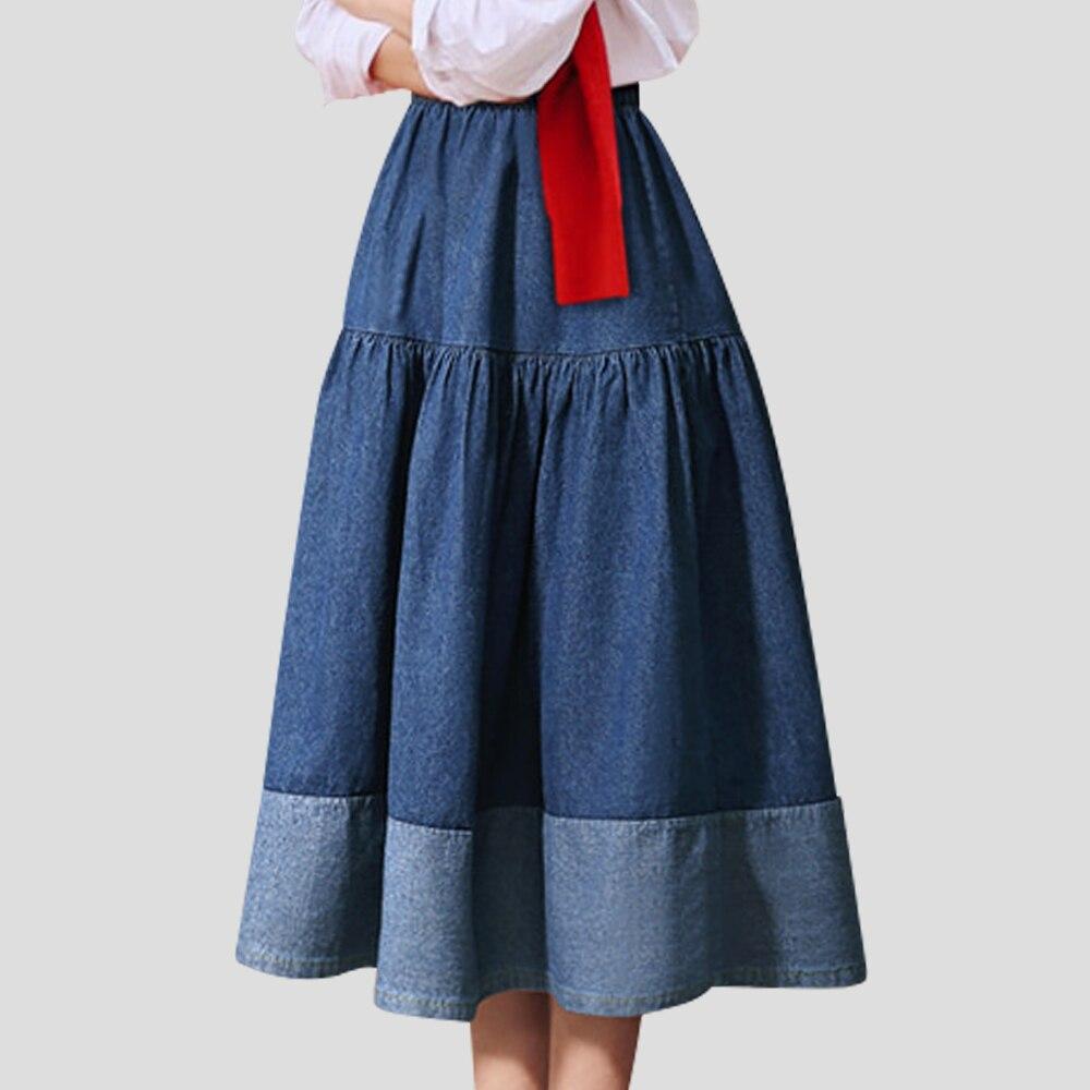 Mid-length Casual Jeans Skirt Women Denim Skirt Pinup A-line Style Spring Summer Harajuku Skirt Cotton High Waist Skirt