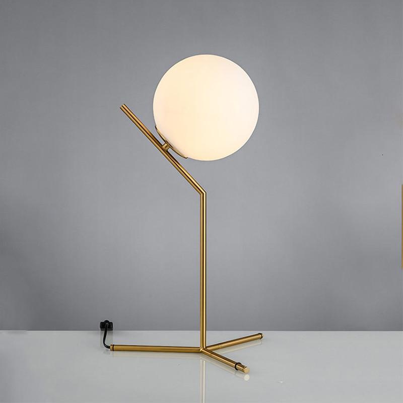 الحديثة الجدول مصباح كرة زجاجية عاكس الضوء السرير القراءة دراسة الذهب أضواء غرفة نوم المنزل ديكو مكتب الإضاءة AC85-240V