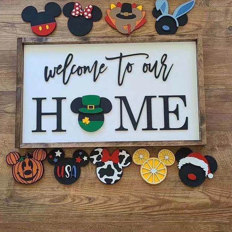 Домашний декор, приветственная дверь, сменный сезонный домашний знак, деревенский фермерский декор, украшение для входной двери, домашний Р...