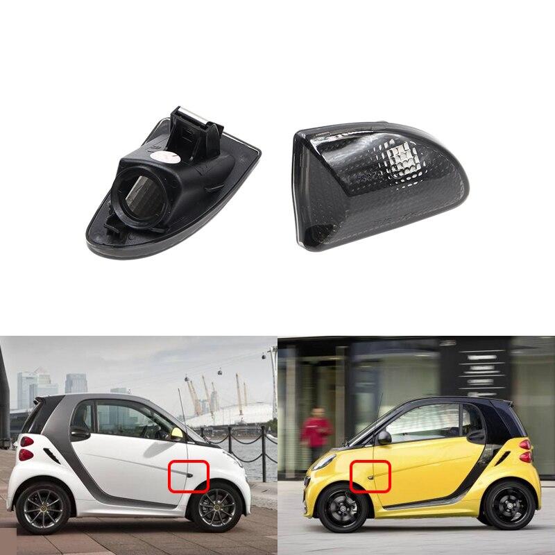 Negro ahumado OEM frente indicador lateral cubierta de la lámpara de luz de señal de giro conchas para Benz Smart Fortwo 451 MK1 y MKII 07-15