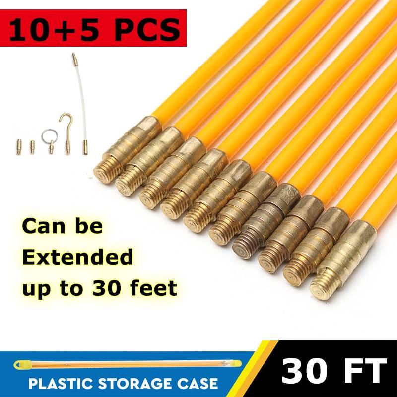 10 piezas 15/30 pies 4mm Cable de fibra de vidrio para correr Kit de Cable Coaxial Cable eléctrico de instalación de varillas Herramienta de extracción de peces alambre de Kit