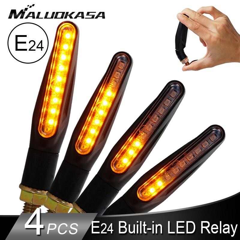 Motorcycle Turn Signals LED Light E24 Flowing Water Blinker Flashing Indicator Bendable Tail Stop Signal for Honda/Kawasak