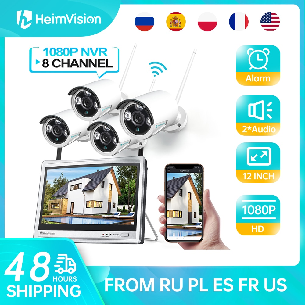 HeimVision HM243 1080P كاميرا أمان لاسلكية نظام عدة 12 بوصة شاشات كريستال بلورية 8CH NVR 4 قطعة Ip كاميرا للرؤية الليلية كشف الحركة