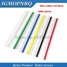 10 pièces 1x40Pin 2.54 simple ligne ligne aiguille bleu jaune rouge noir blanc vert rond en-tête connecteur