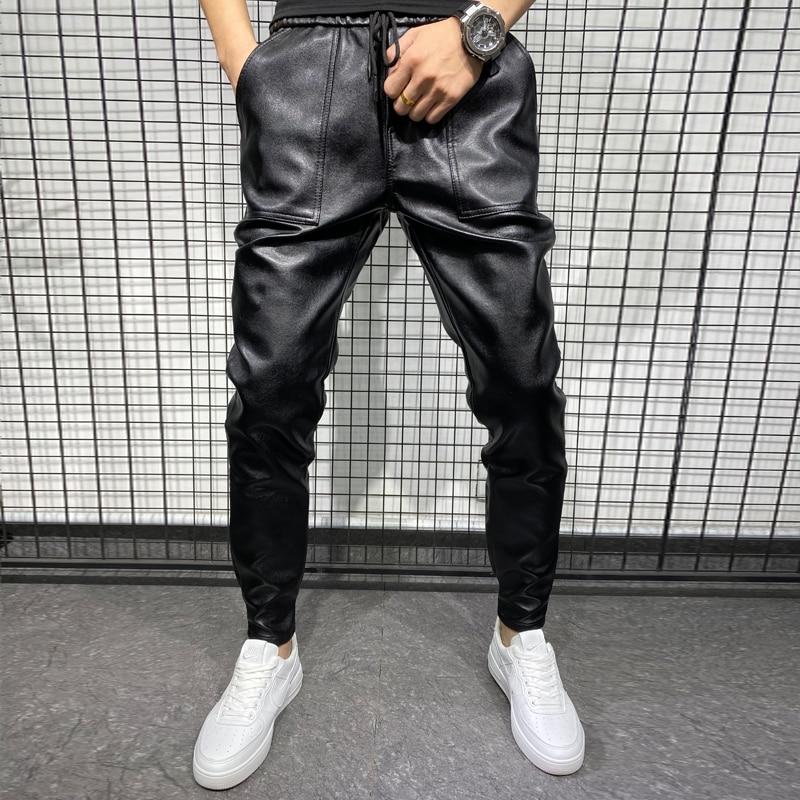 جديد شتاء سميك دافئ بولي بنطال بنطال جلدي ملابس الرجال 2021 بسيط كبير جيب يندبروف دراجة نارية غير رسمية بنطلون أسود حجم كبير