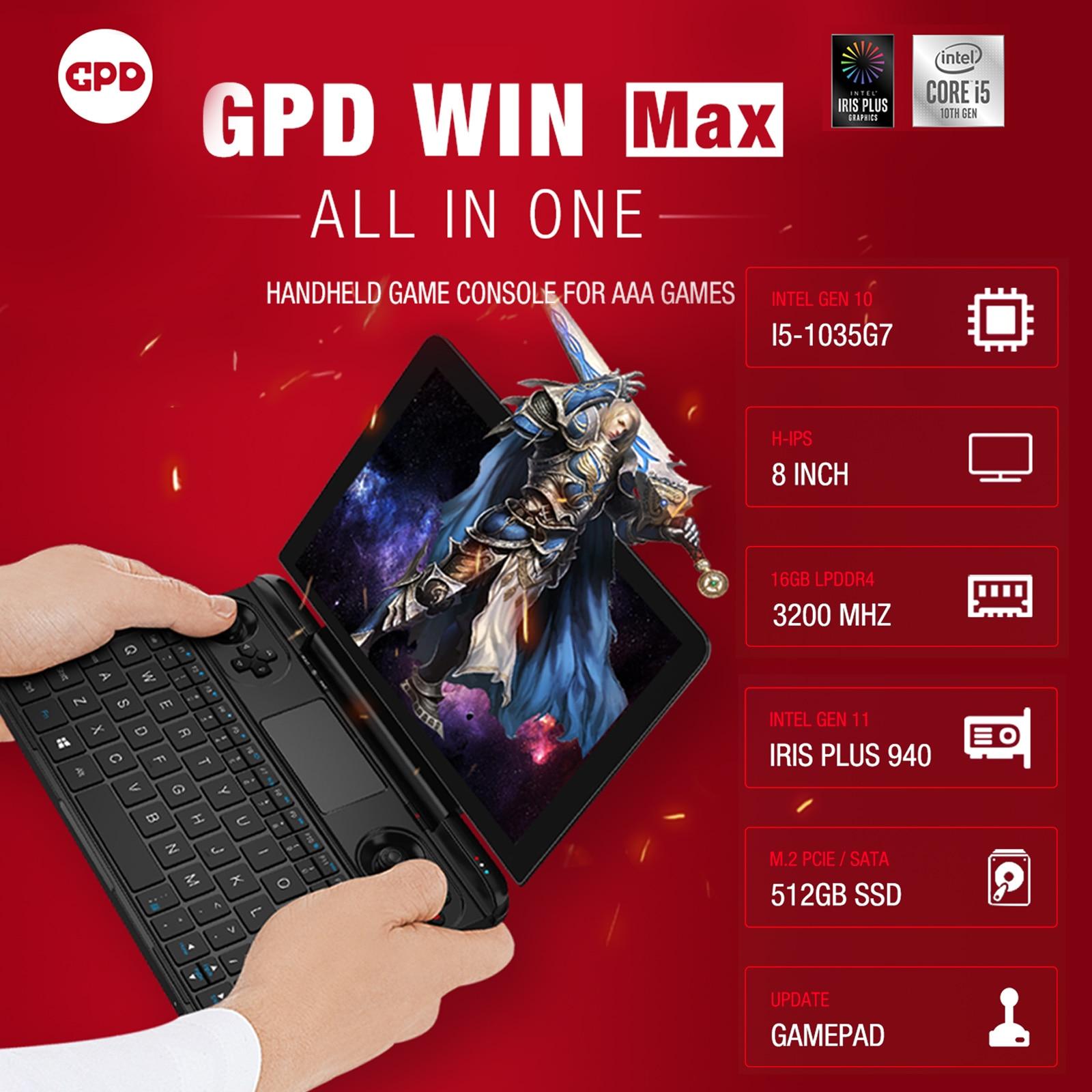"GPD WIN MAX Mini Gaming Laptop 8 ""Touchscreen Handheld Spielkonsole PC Notebook 16GB/512GB Dual wiFi 15000mAh Batterie Hintergrundbeleuchtung"