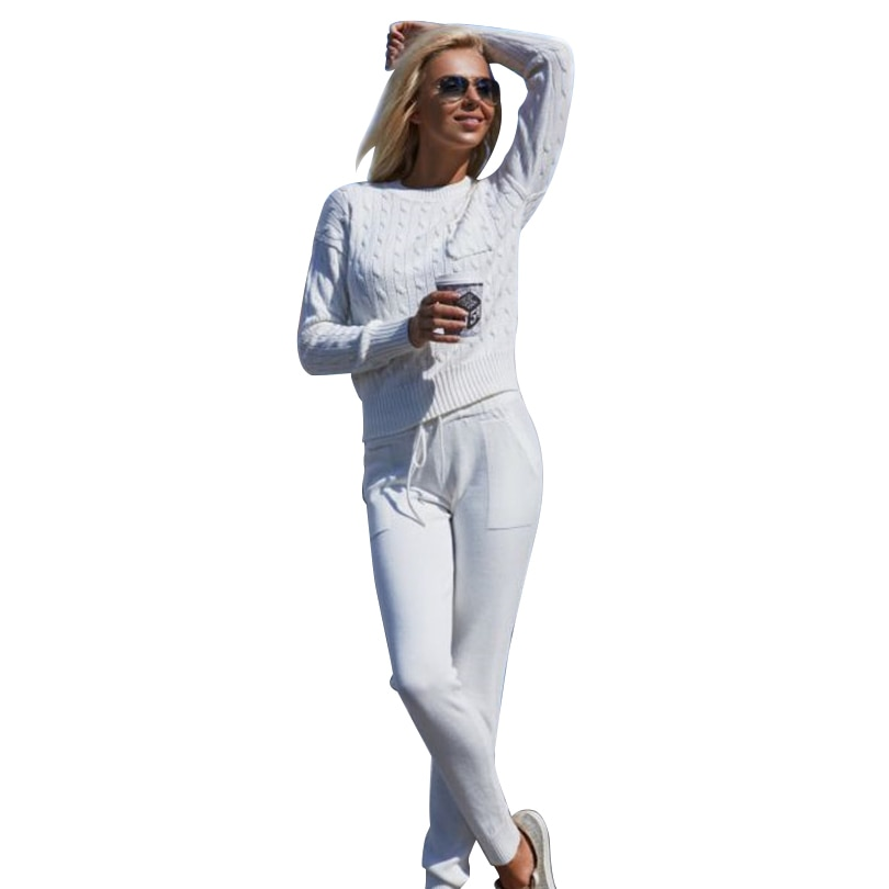 women's knitting tracksuit Casual Knitted Sweaters Pants 2 Piece Set Female Tracksuits