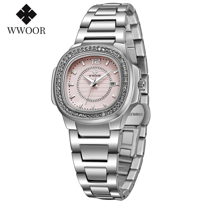 WWOOR 2020 New Pink Ladies Wrist Watch Famous brand luxury Diamond Dial Date Watch Women Stainless Steel Womens Bracelet Watches enlarge