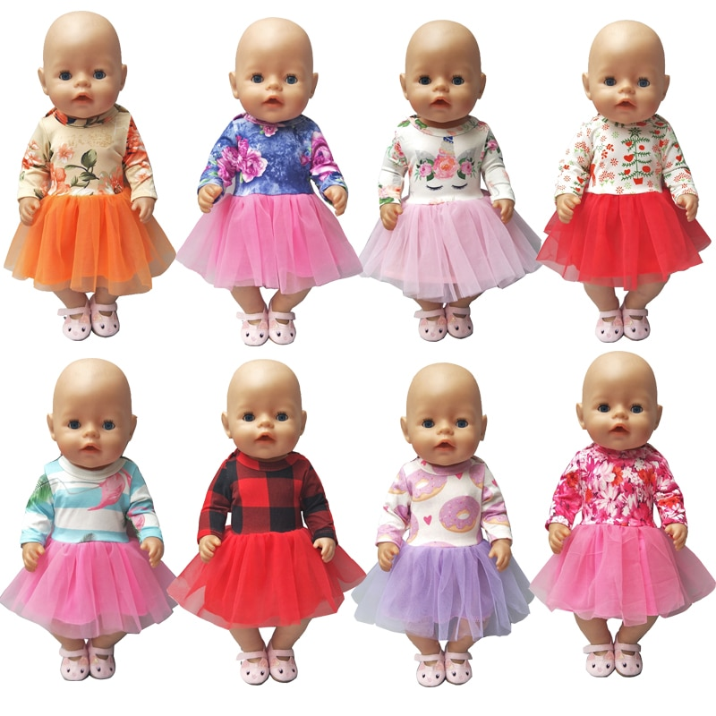 Doll Dress 43 Cm Baby Doll Clothes Lace Dress 18 Inch American Generation Girl Doll Dress