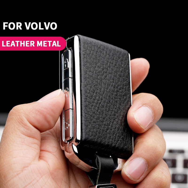 Metal leather Car Key Cover For Volvo XC40 XC60 S90 XC90 V90 T5 T6 T8 Auto Protect keychain Case Holer