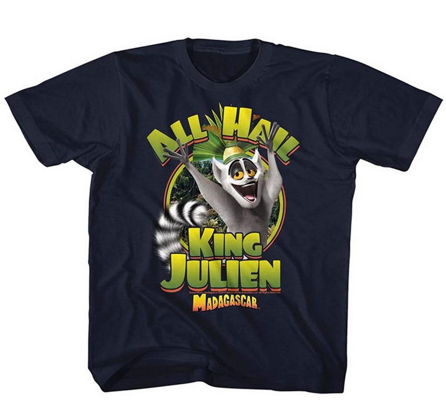 Madagascar Unisex niño rey Julien cómoda camiseta pantalón corto Casual manga para hombres ropa de verano