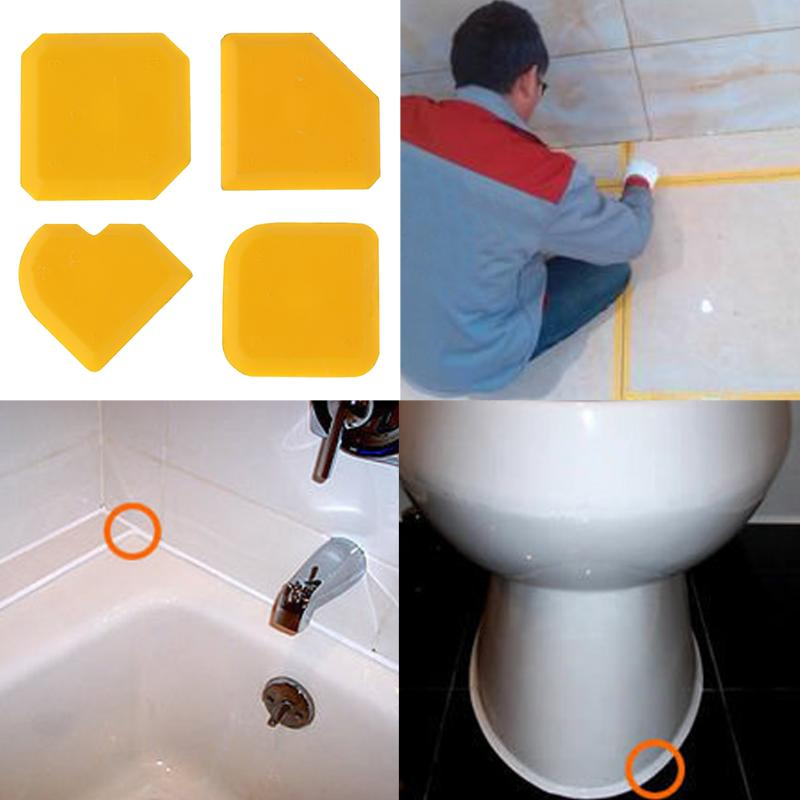 4pcs Silicone Glass Cement Scraper Sealant Grout Remover Home Finishing Caulking Tools Home Cleaning