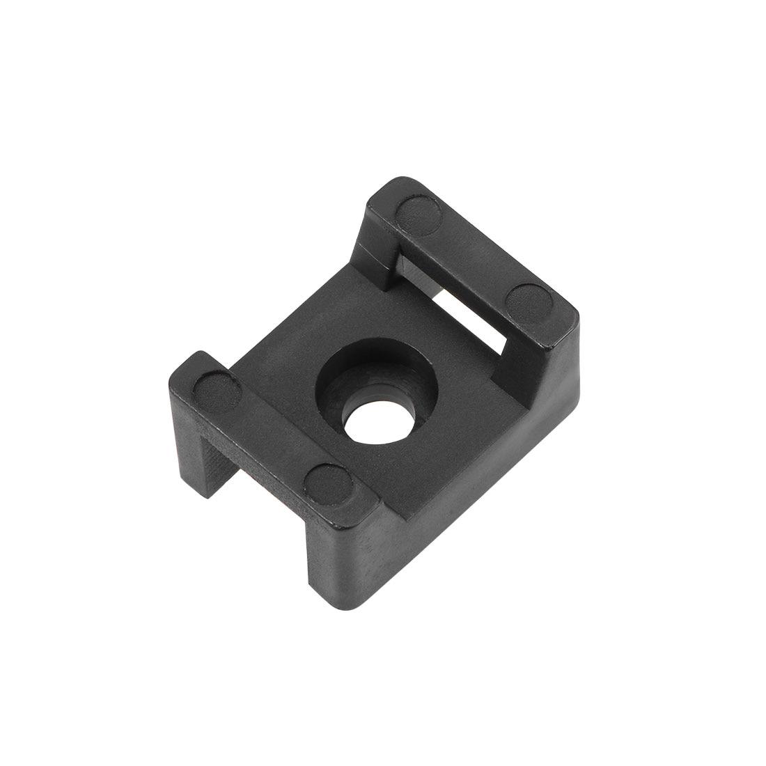 Uxcell 50 pçs cabo gravata base sela tipo montagem suporte de fio âncora permanente para mesa de parede 21.5x16x10mm preto
