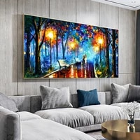 landscape painting wall art painting lover in the rainy light road canvas painting wall pictures for living room home decor