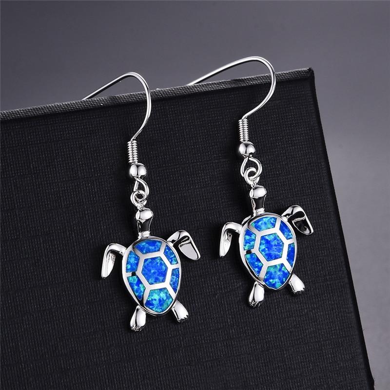 Fashion Women Earrings 2021 Blue Imitation Opal Drop Cute Turtle Animal Female Wedding Jewelry Gift