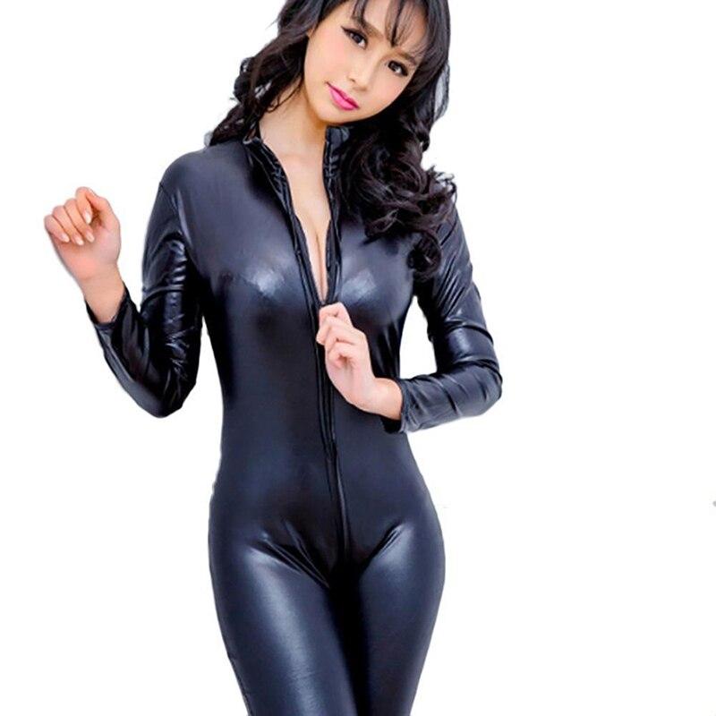 Mono Sexy de piel sintética para mujer, traje de látex Zentai, mono suave de aspecto húmedo con cremallera frontal, mono elástico de PU negro, ropa de discoteca ajustada