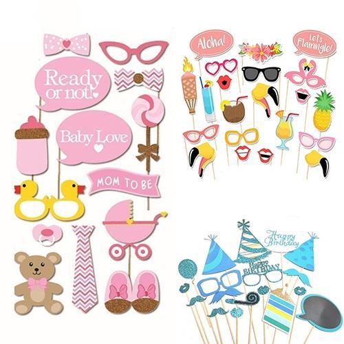 1 Set Party Supplies Decor Baby Beard Glasses Lip Cap Mask Photograph Photo Props Masquerade Birthday Party Dress Up Supplies