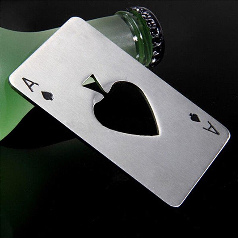 Abrebotellas de acero inoxidable con forma de póker, Abrelatas creativo de cartas...