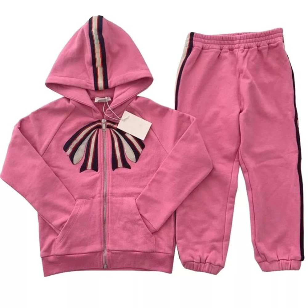 Spring and autumn new girl's ribbon bow hooded sweater cardigan sports suit pink cotton long sleeve coat trousers two piece set enlarge