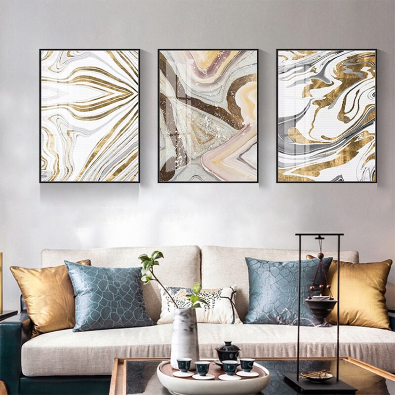 Abstract Gold Crooked Field Canvas Painting Decorative Picture For Home On The Wall Art Decoration Nordic Style Poster And Print  - buy with discount