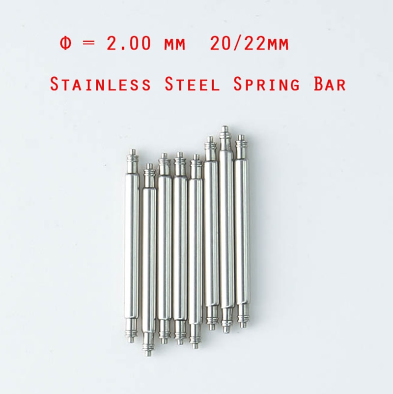 10 Pcs diameter diameter=2mm Stainless Steel 18mm/20mm/22mm/24mm Spring Bars Pin for Diver  watch