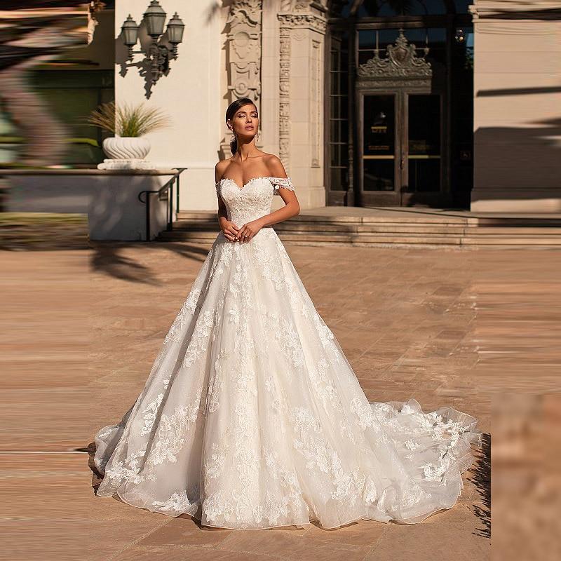 Новинка великолепные кружевные свадебные платья а-силуэта с открытой спиной Свадебные платья с открытыми плечами для невесты со шлейфом