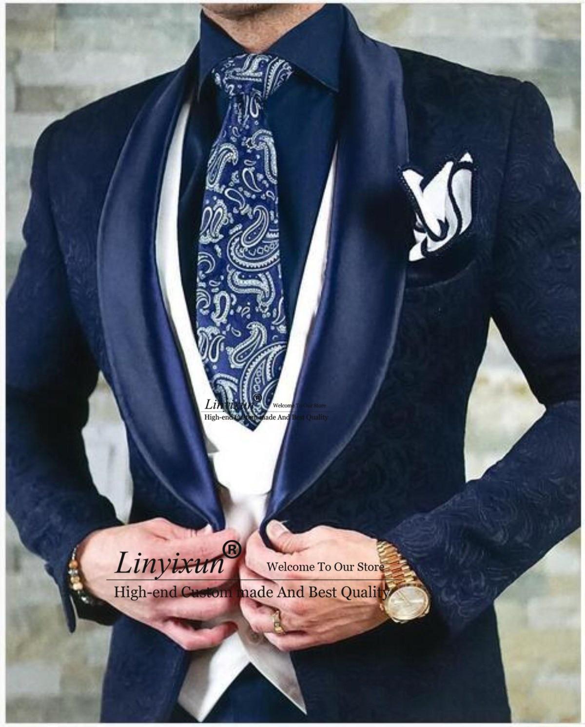 الكلاسيكية النقش البدلات العريس الزفاف الرجال الدعاوى الرجال بدل زفاف ازياء دي التدخين صب أوم الرجال (سترة السراويل سترة)