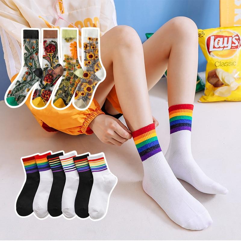 Женские носки с принтом, цветные крутые тонкие женские носки, модные рождественские носки, дышащие короткие шелковые сетчатые носки, носки