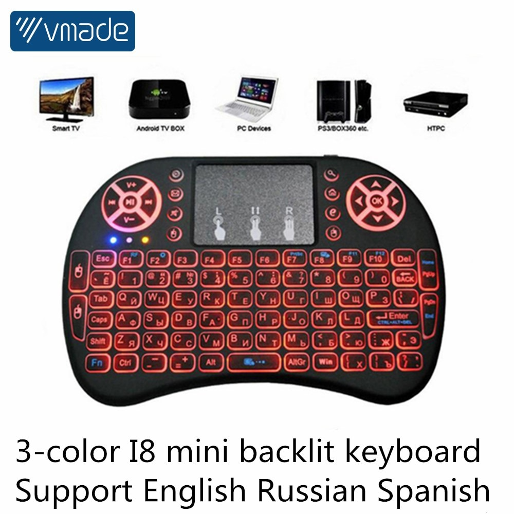 TFGDBE 3 Color Backlit i8 Mini Wireless 2.4Ghz English Russian Spanish Multi-Language Keyboard Air Mouse For PC Android TV Box