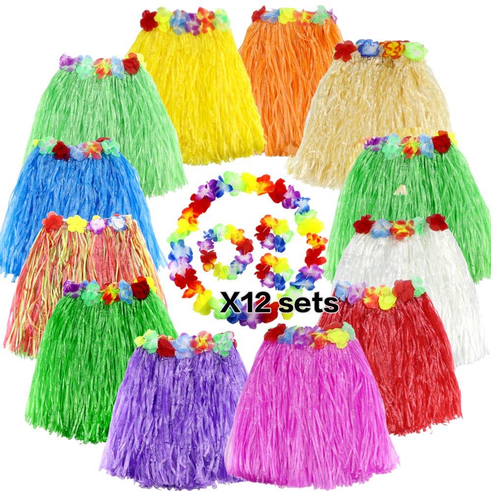 metable 12pcs Colors Hula Grass Skirts with Flower Leis Costume Set Luau Grass and Hawaiian Flower Bracelets, Headband, Necklace