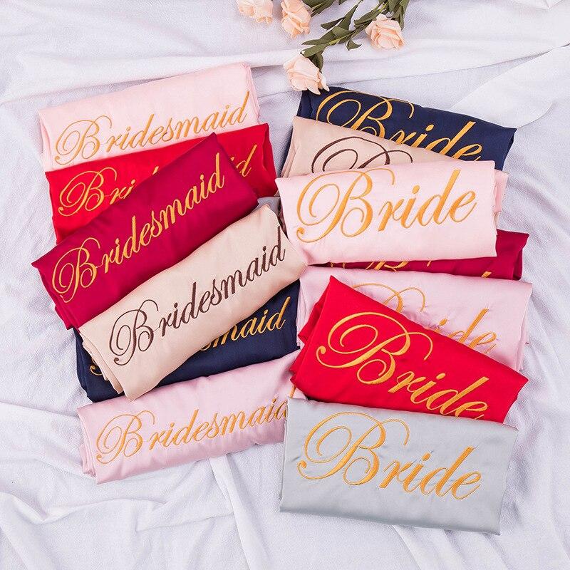 2020 mujeres vestido de novia dama de honor bata de mañana satén personalizado bordado boda maquillaje camisón Albornoz recuerdo de la boda