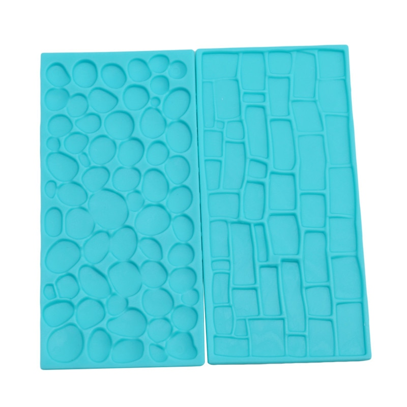 2 unids/set de textura de silicona molde de árbol de corteza de ladrillo de pared en relieve de silicona Mat utensilios para decoración de tortas con Fondant utensilios de cocina envío gratis
