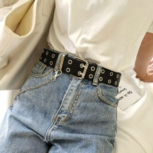 Fashion Women Punk Chain Belt Ladies Adjustable Double/Single Row Hole Eyelet Jeans Waistband with E