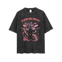 100% Cotton Anime Pain Printed Men T Shirt Travis Scott Retro Washed Short Sleeve Graphic Tees Streetwear Women Tshirt Camisetas