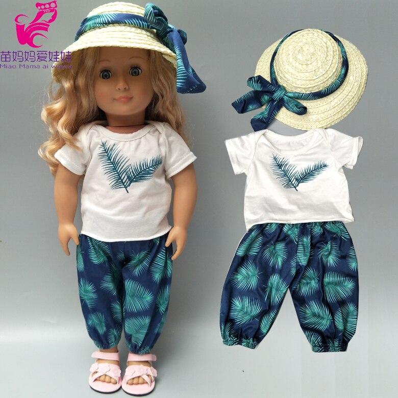 Babypop Kleding Hawaiiaanse Strand Overhemd Pantsstraw Hoed Voor 18 Inch Amerikaanse Pop Vakantie Kleding T-shirt Broek Set