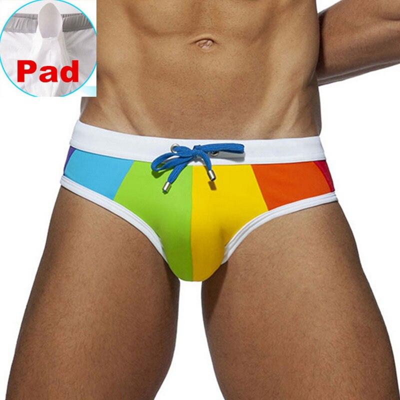 Плавательные мужские трусы, сексуальное нижнее белье пуш-ап, мужские Разноцветные плавки, купальный костюм, пляжный шорты купальник