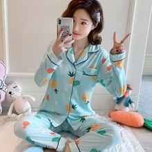 Fashion 2020 Autumn Winter Women Pajamas Set Long Sleeve Cartoon Girls Sleepwear Set Female Loungewear Cute Women Pyjamas Set