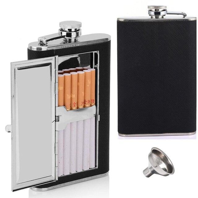 Flask Liquor and Funnel 5/6Oz Leak Proof 18/8 Pocket Hip Flask PU Leather Cover for Men Gift Car CIgarette Clip Case for Wine