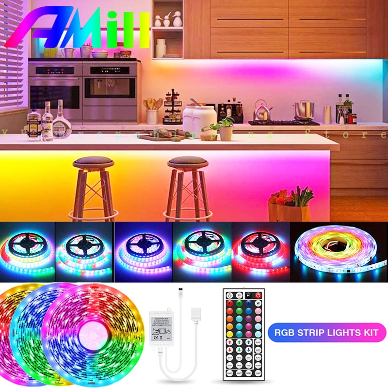 5M LED Strip 5050 2835SMD RGB Waterproof LED Light Strips Flexible DC12V Diode Tape 44 Key IR Controller Adapter for Home Decor