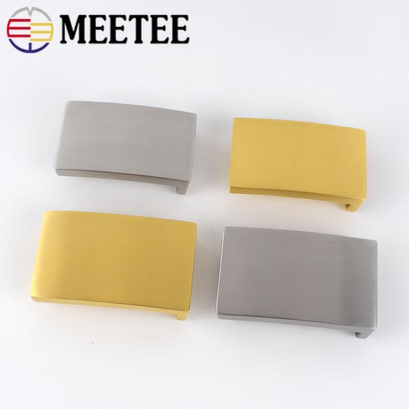 Meetee 1pc ID33/38mm Tainless Steel Business Mirror Surface Flat Belt Buckle DIY Belt Buckle Bewing Smooth Buckle AccessoryZK712