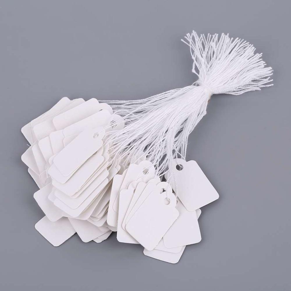 100 шт. прямоугольные пустые белые ценники с веревкой ювелирные изделия этикетка промо-магазин аксессуары